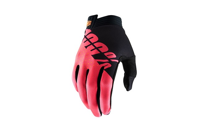GANTS 100% iTRACK BLACK/FLUO RED