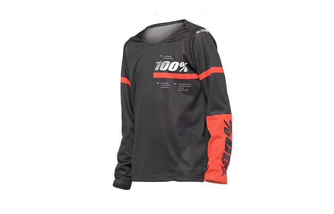 MAILLOT MANCHES LONGUES 100% KID R-CORE BLACK/RED
