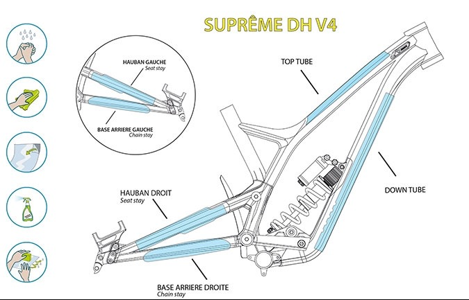 KIT CLEARPROTECT CUSTOM POUR SUPREME DH V4 BRILLANT